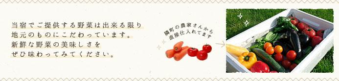 当宿でご提供する野菜は出来る限り地元のものにこだわっています。新鮮な野菜の美味しさをぜひ味わってみてください。
